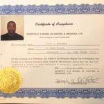 Cliff Benjamin Certificate